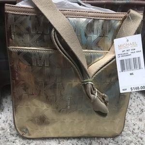 NWT gold monogram MK over the shoulder bag